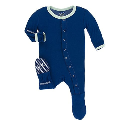 Kickee Pants Little Boys Solid Footie With Snaps - Flag Blue With Pistachio, 18-24 Months ()