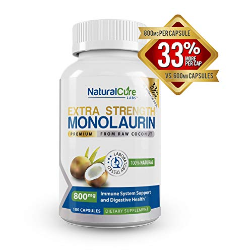 Natural Cure Labs Extra Strength Monolaurin 800mg, 100 Capsules, 33% More (Best Natural Cure For Flu)