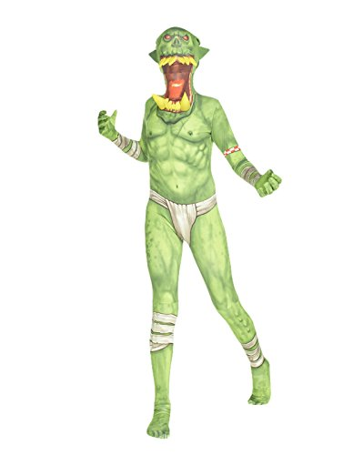 "[Green Orc Jaw Dropper Kids Monster Morphsuit Fancy Dress Costume - size Large 4""1-4""6] (Green Morphsuit)"