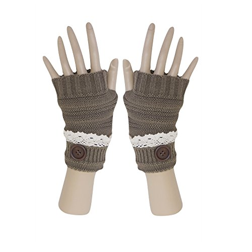 Chocolate Winter Knit Fingerless Cuffed Gloves w/ Lace, Button Trimmed Wrist Warmers