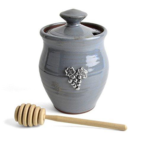 Oregon Stoneware Studio Vineyard Honey Pot, Light Blue