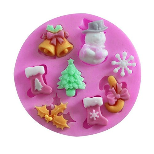 3D Christmas Tree Bell Silicone Snowflake Snowman Modeling Soap Mould Fondant Candy Mould Cake Decor Icing Sugarcraft Mold Baking Tools