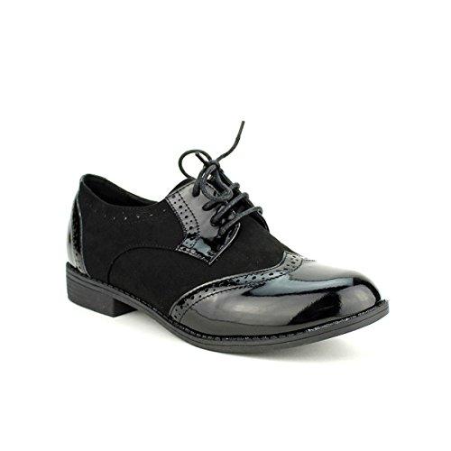 Bi Chaussures Cendriyon Femme Matières Noir Black Vivi Queen Derbies 6Rq4qw5T