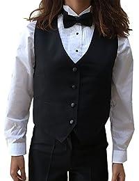Tuxedo Vest, Womens 4 Button Black Waitress Bartender Uniform