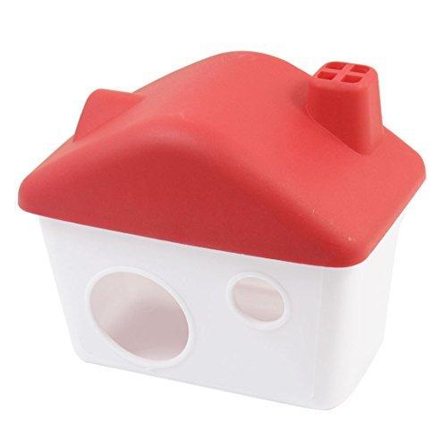 eDealMax Plastique amovible Penthouse Maison 4cm Porte Rouge Blanc Pour animaux Hamster
