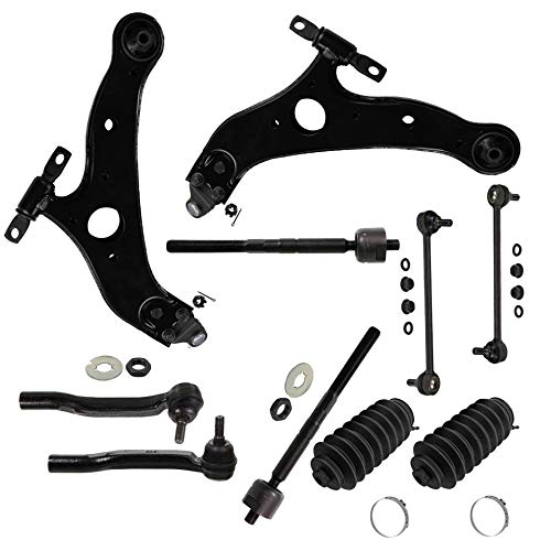 Detroit Axle - 12pc Kit: Both (2) Front Lower Control Arms and (2) Lower Ball Joints and All (4) Inner and Outer Tie Rod Links w/Rack Boots and (2) Sway Bar Links for [2004-2010 Toyota Sienna] ()