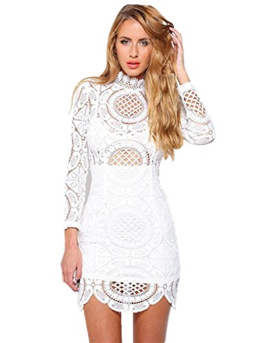 Absolutely Perfect Crochet Hollow Flower Long Sleeve Asymmetric Lace Dress White L