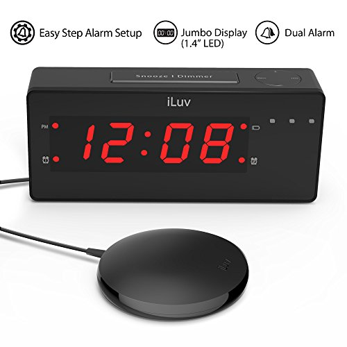 iLuv TimeShaker Wow-UPGRADED Jumbo LED Dual Alarm Clock with Super Vibrating Wired Bed Shaker