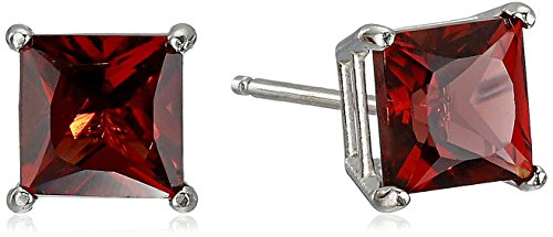 November Birthstone Earrings (10K White Gold Princess cut Garnet Stud Earrings, (5mm))