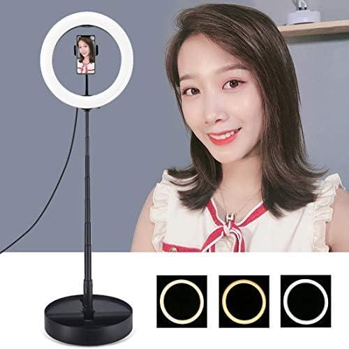 YWZ 折りたたみ卓上ホルダー&電話クランプ(ブラック)とAYS 10.2インチ26センチメートルUSB 3モード調光対応のデュアル色温度LED曲線リングVlogging自分撮り写真ビデオライト (Color : Black)
