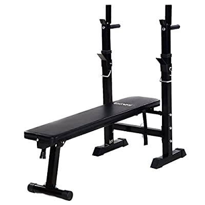 Goplus Adjustable Folding Weight Lifting Flat Incline Bench Fitness Body Workout