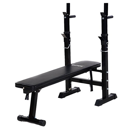 Goplus Adjustable Folding Weight Lifting Flat Incline Bench Fitness Body Workout by Goplus