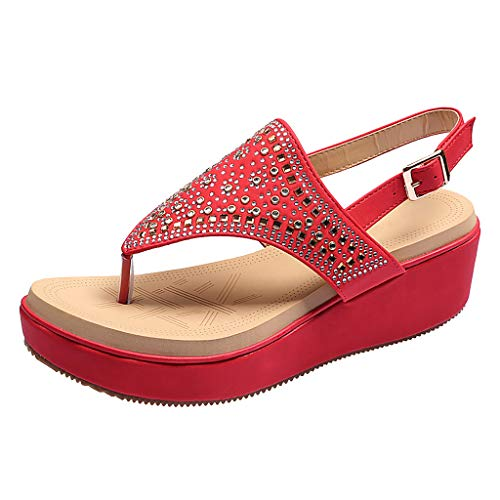 (Flat Sandals for Women T-Strap Thong Rhinestone Bohemia Clip Toe Shoes (US:7.5, Beige))