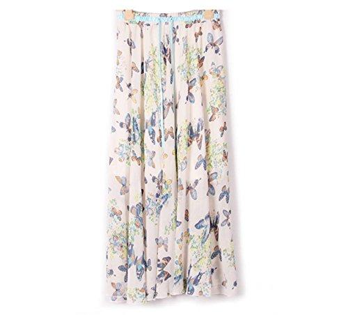 Kaxuyiiy Mujer gasa bohemio flor Cintura elástica maxi plisada fiesta playa larga Falda long Skirt Mariposa azul