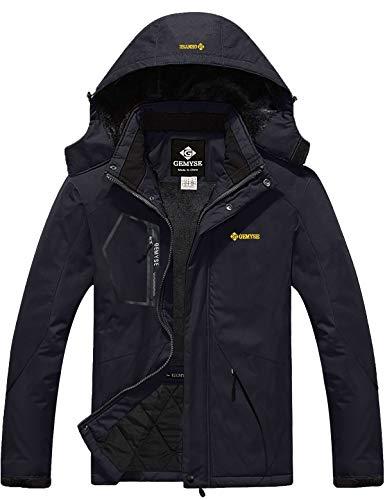 GEMYSE Men's Mountain Waterproof Ski Snow Jacket Winter Windproof Rain Jacket (Black,L) (Coats Winter Sale)