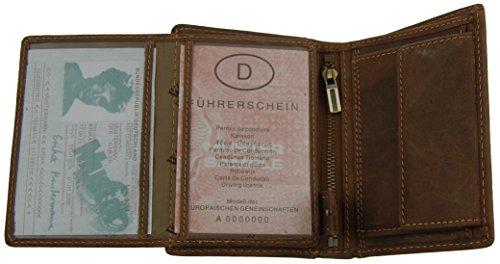 NB24 Versand Herren Geldbörse (5500), Echtes Leder, braun