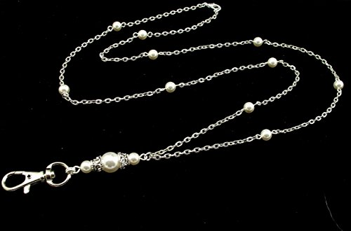 Handcrafted Beaded Lanyards (Women's Fashion Lanyard for ID Badge or Keys- Functional Necklace features White Swarovski Pearls and Silver Textured Chain)