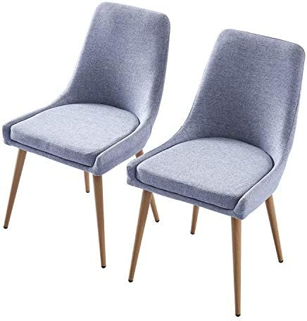 Modern Dining Chair Set of 2 Fabric Upholstered Seat Metal Legs Side Chair