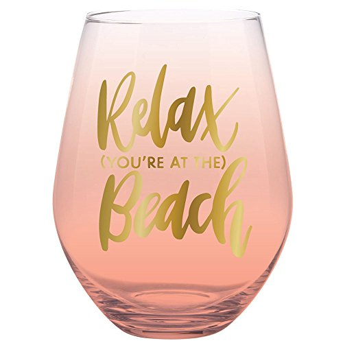 30oz Jumbo Stemless Wine Glass - Relax You're At The Beach. -