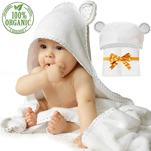 - RIXI KIDS Premium Organic Bamboo Hooded Baby Towel with Cute Bear Ears for Babies or Toddlers [BIG Size 35x35] Ultra-Soft Large Baby Bath Towels with Hood, Perfect Infant/Newborn Gift for Girls/Boys