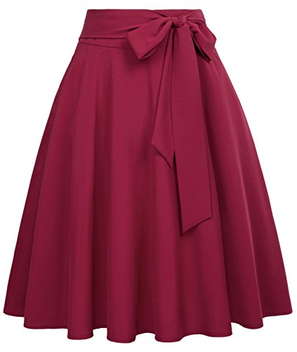 Women's High Waist A-Line Street Pleated Skirts with Belt Wine Size M BP561-2 (Plus Size Skater Skirt)