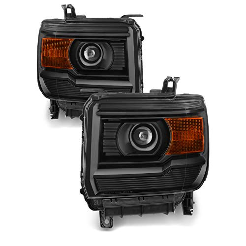 Fits 2014 2015 GMC Sierra 1500 2500HD 3500 HD Projector [Halogen Style] Headlamp Headlights Left+Right Pair