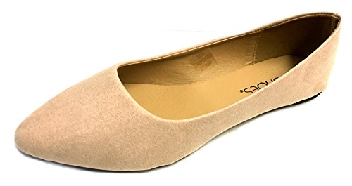 Shoes 18 Womens Pointed Toe Ballet Flat Shoes 880a Nude Micro ZUtI2xku7G
