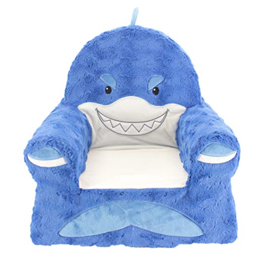 Sweet Seats Sturdy Soft Cozy and Adorable Plush Shark Chair in Blue with Sweet Embroidered Details on The Face Hands and Feet ()