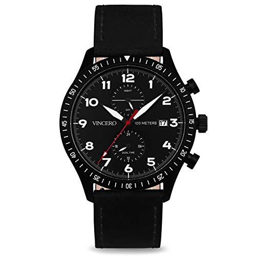 (Vincero Luxury Men's Maverick Wrist Watch - Top Grain Italian Leather Watch Band - 44mm Analog Pilot Watch - Japanese Quartz Movement (Black/Red))