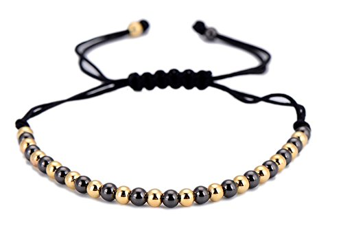 StylesILove Handmade 4mm Copper Beads braided adjustable Rope Bracelet (Black and Gold)