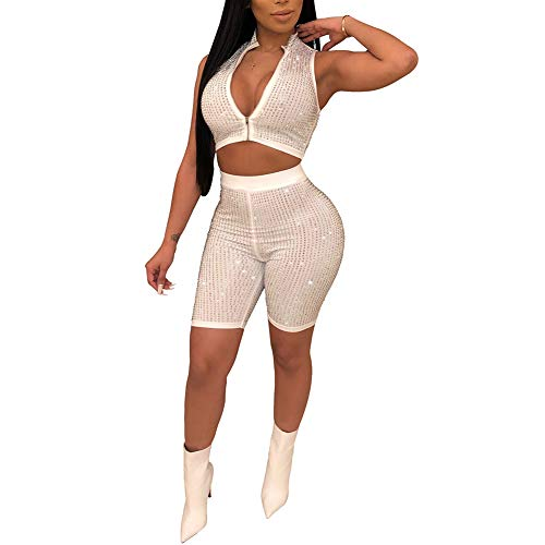 Womens Sexy Sequins 2 Piece Outfits Zipper Front Crop Top Sleeveless Bodycon Short Jumpsuit Club Romper White