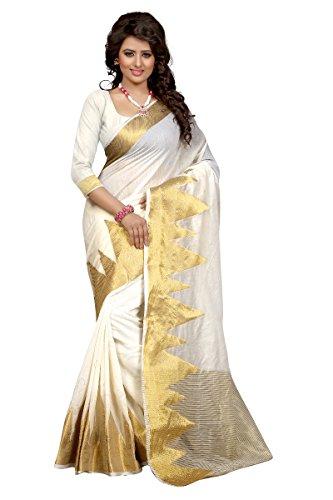 Shopaholic Women's Kanjivaram Silk Designer Saree Free Size Multi (White Silk Saree)