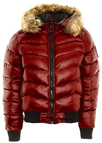 (New Womens Fur Hooded Padded Quilted Badge Puffer Bomber Shiny Jacket Warm Coat)