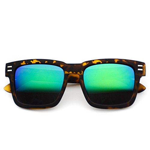 WearMe Pro - Retro Square Mirrored Black Frame Sunglasses Tortoise Frame/ Green Lens