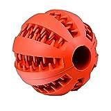 Demana Juguetes para perros mascotas pelota de sandía resistente al caucho perro limpio tartar bola interactiva para mascotas perros masticar jugar traning ejercicio Rojo