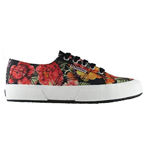 Superga für Schuhe Black Multicolor frau FABRICFLOWERW 2750 A48 rfrBq4Hw