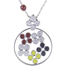 Roberto Coin 18K White Gold Diamond Pave with Red, Black, and Yellow Enamel Flowers Pendant Necklace