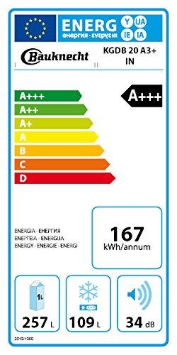 Bauknecht KGDB 20 A3+ IN Kühl-Gefrier-Kombination / A+++ / 201 cm Höhe / 167 kWh/Jahr / 257 L Kühlteil / 109 L Gefrierteil / Extrem Leise / ProFresh