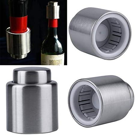 Sacacorchos de Acero Inoxidable Tapón de Botella de Vino Tapón de Botella de Vino Tinto Sellado al vacío Tapón de Flujo de Licor Tapón de vertido Herramientas de Cocina BCVBFGCXVB (Plata Silver