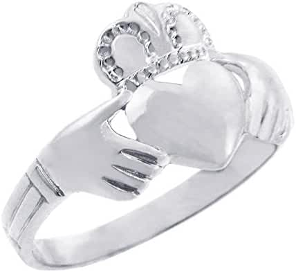 Solid 925 Sterling Silver Traditional Irish Claddagh Ring