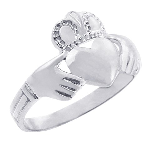 Solid 925 Sterling Silver Traditional Irish Claddagh Ring (Size 7)