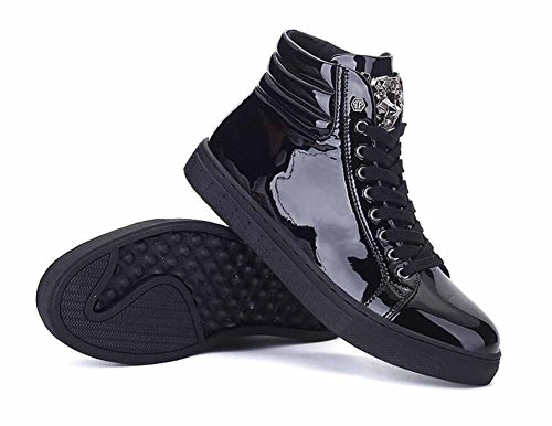 Men Hi-Top Sneakers Autumn Winter New Patent Leather Casual Flat Shoes Lightweight Athletic Shoes ( Color : Black , Size : 44 (New Black Patent Leather)