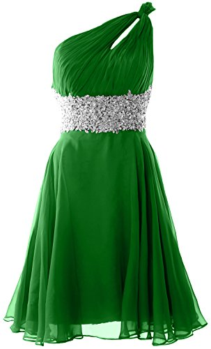 MACloth Women's One Shoulder Lace Homecoming Dress Short Prom Formal Party Gown (EU42, Verde)