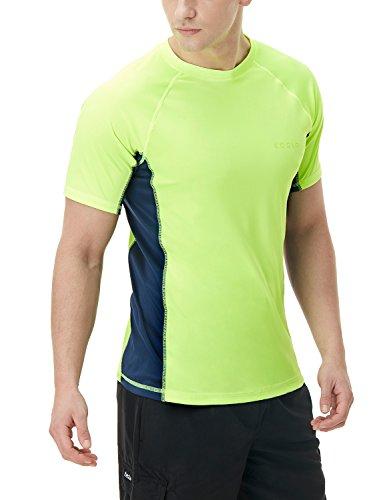 TSLA Men's UPF 50+Swim Shirt Loose-Fit Swim Tee Rashguard Top,Active Sun Block(mss01) - Lime & Navy, 3X-Large.
