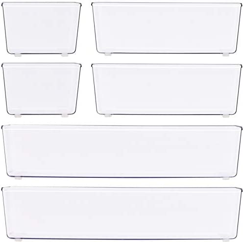 6 Pack – Simple Houseware Clear Plastic Desk Drawer Organizers 41KaVVEQiHL