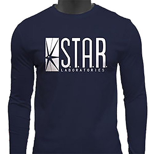 Sleeve Star Youth Long - Star Laboratories Star Labs Long Sleeve Shirt Crew Neck S.T.A.R Labs - Premium Quality (Youth Large, Navy)