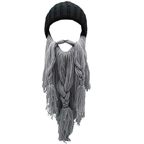 - Flyou Adult Viking Beard Beanie Horn Hat Winter Warm Mask Hat Knitted Wool Funny Skull Cap (Lgray)