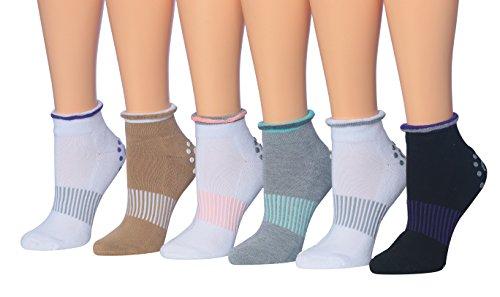 Ronnox Women's Yoga Barre Socks Non Slip Skid Pilates Ballet Socks 6-Pairs, Fits shoe size 5-9, RY01-B from RONNOX
