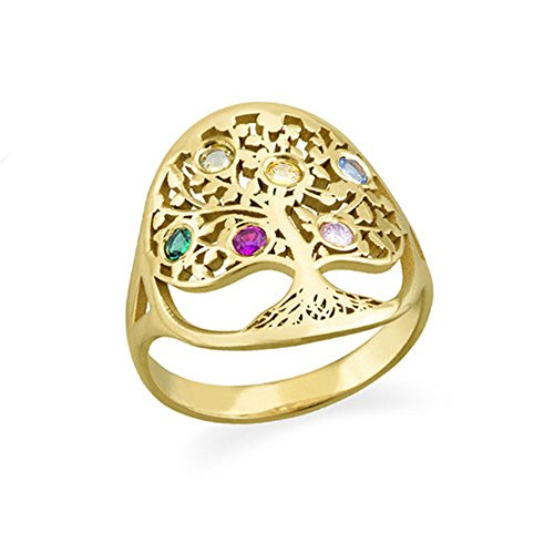 Shiny Alice Family Tree Mothers Jewelry - Swarovski Birthstone Ring - Mothers Day Custom Made Ring Gift (Gold 9.5)