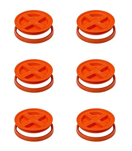 5 Gallon Orange Gamma Seal Lid 6 Pack